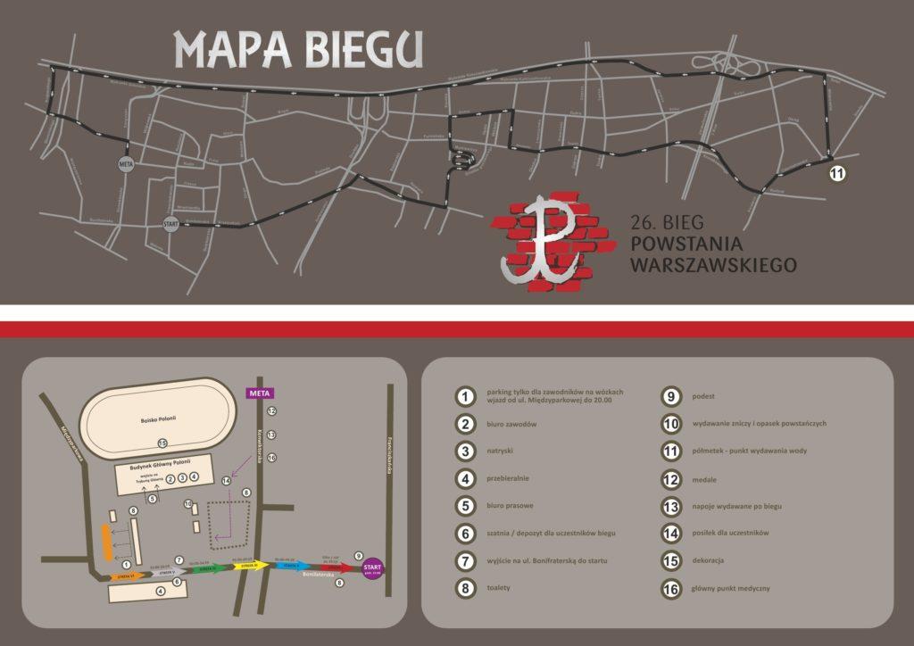 26 Bieg Powstania Warszawskiego - trasa
